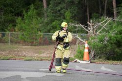 A Fire and Safety student of Northwest Florida State College participates in a practical exercise last fall.